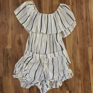 Two Piece Striped Top and Shorts set